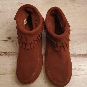 Minnetonka Double Fringe Side Zip Suede Shoes